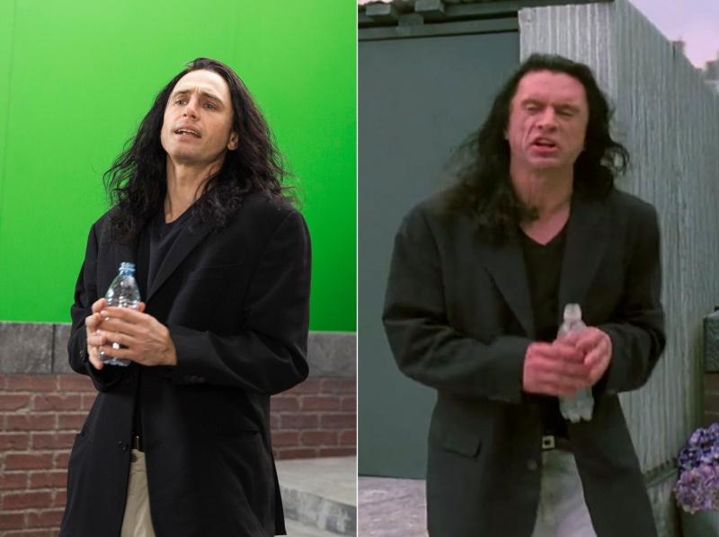 "Kadr z filmu ""Disaster Artist""  po lewej, po prawej kadr z ""The Room"" (źródło: materiały prasowe)"