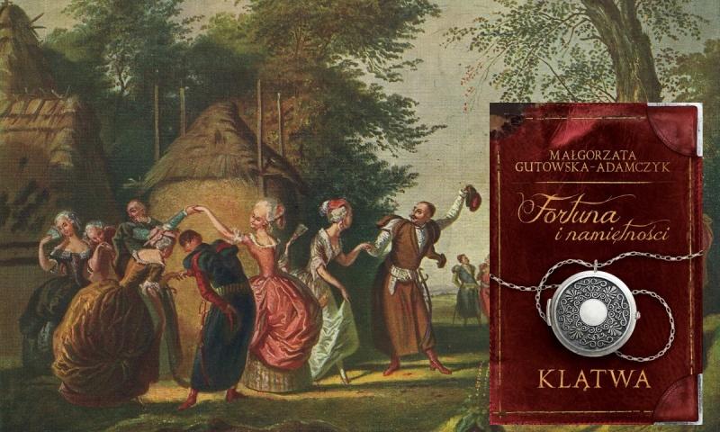"""Okładka (źródło: nk.com.pl/fortuna-i-namietnosci-klatwa); Tło (źródło: obraz """"Polonez pod gołym niebem"""", Korneli Szlegel/wikimedia.org)"""