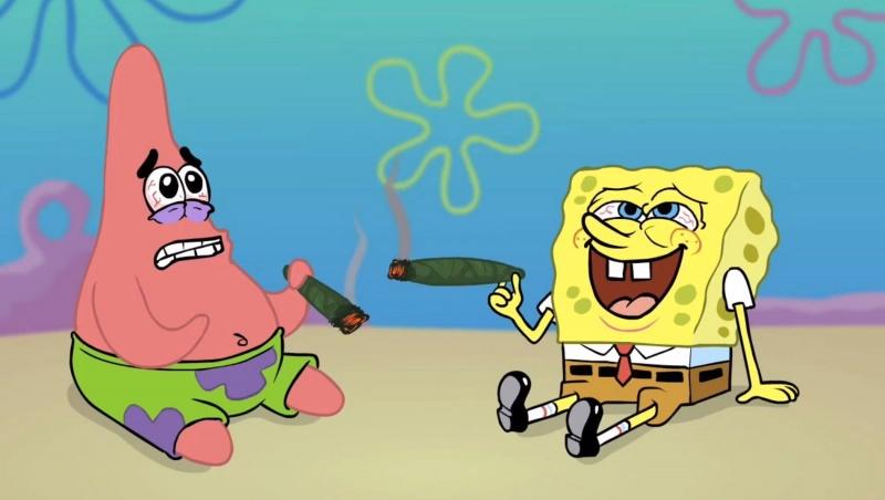 """Kadr z zabawnego serialu animowanego pt. """"SpongeBob Kanciastoporty"""""""