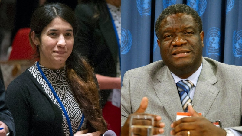 Nadia Murad i lekarz Denis Mukwege (źródło: youtube.com/screenshot)