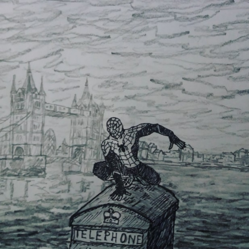 "Fanart ""Far From Home"" (źródło www.instagram.com/p/BzkpAXMCG5k)"
