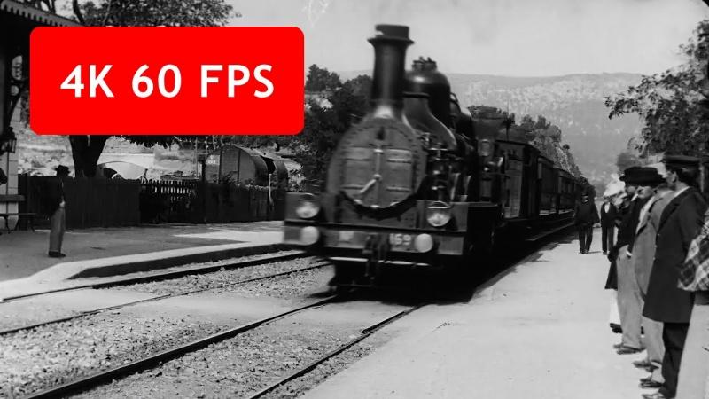 """Kadr z filmu """"Wjazd pociągu na stację La Ciotat"""" (źródło: youtube.com/screenshot)"""