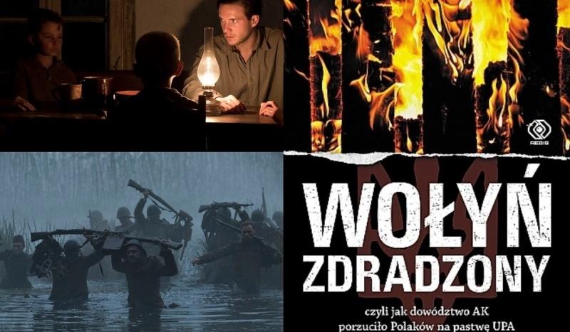 """Tło (źródło: kadr z filmu """"Wołyń""""/forumfilm.pl); Okładka (źródło: www.rebis.com.pl)"""