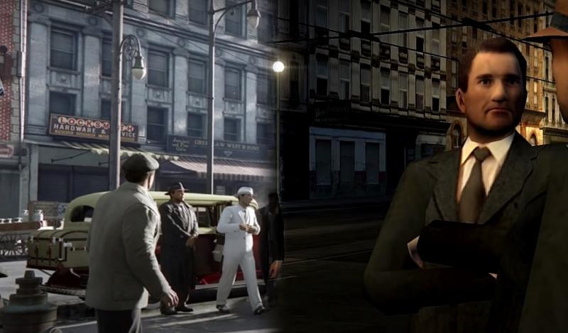 """Screenshot z gry """"Mafia: Edycja Ostateczna"""", po prawo oryginalna """"Mafia"""" (źródło: youtube.com)"""