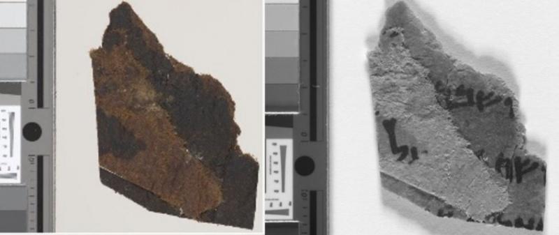Fragment Ryl4Q22. Po lewej po powiększeniu, a po prawej tekst widoczny dzięki obrazowaniu multispektralnemu (fot. University of Manchester)