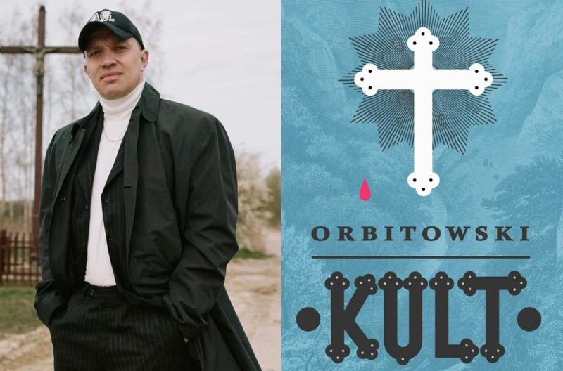 """Łukasz Orbitowski (źródło: facebook/fot. Zuzanna Krajewska); Okładka książki """"Kult"""" (źródło: Świat Książki)"""