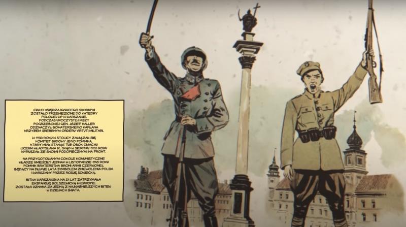 """Kadr z filmu animowanego pt. """"Bitwa Warszawska 1920"""" (źródło: YouTube/screenshot)"""