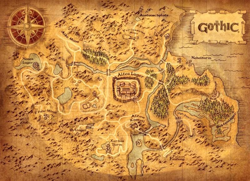 """Mapa krainy z gry """"Gothic"""""""
