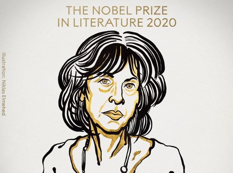 Laureatka w dziedzinie Literatury - ilustracja (źródło: Niklas Elmehed/Twitter/Nobel Prize)