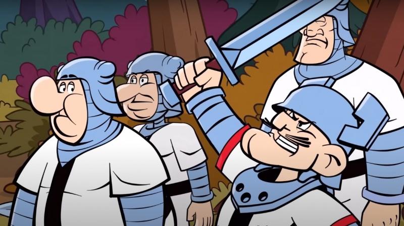 """Kadr z serialu """"Kajko i Kokosz"""" (źródło: youtube.com/screenshot)"""