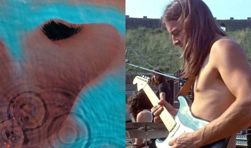 """Okładka albumu """"Meddle"""" oraz David Gilmour w swoim żywiole (źródło: youtube.com/screenshot)"""