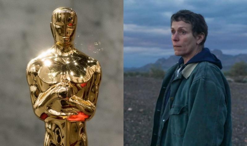 "Statuetka Oscara: fot. (libreshot.com); Kadr z filmu ""Nomadland"" (źródło: materiały prasowe)"