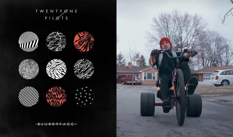 """Okładka albumu """"Blurryface"""" (źródło: materiały prasowe); Kadr z oficjalnego teledysku (źródło: youtube.com)"""