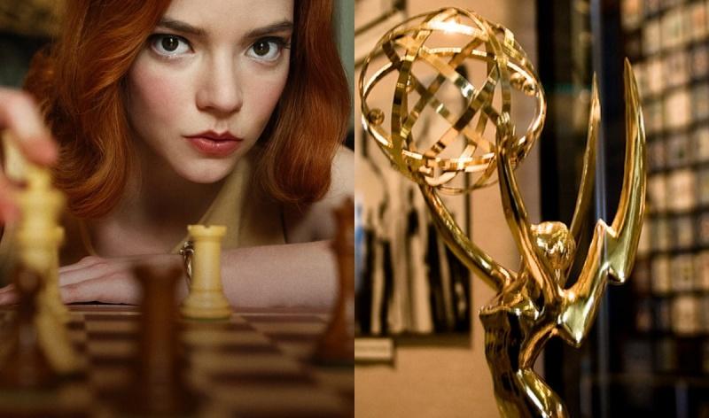 """Kadr z serialu """"Gambit królowej"""" (źródło: materiały prasowe/Netflix); Statuetka Emmy (źródło: www.flickr.com/photos/shinealight)"""