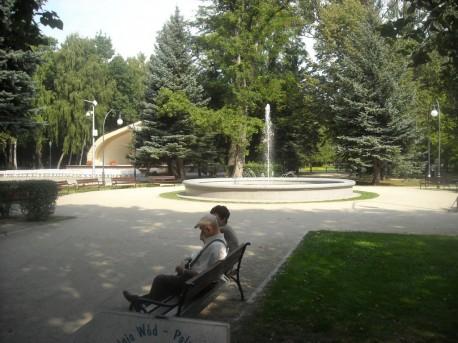 Park, w tle fontanna