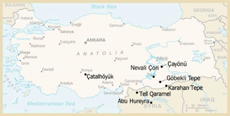Mapa Turcji i miejsca występowania megalitycznych konstrukcji