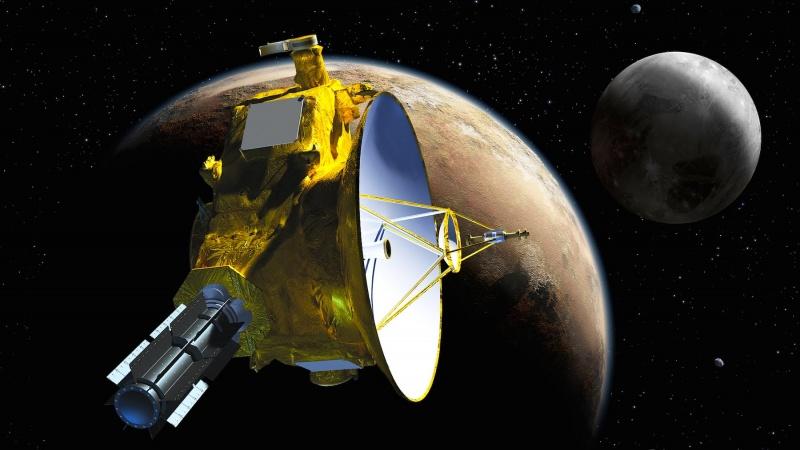 Wizualizacja - Sonda New Horizons dociera do Plutona (źródło: youtube.com/screenshot)