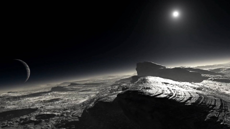 Wizualizacja - powierzchnia Plutona (źródło: youtube.com/screenshot)