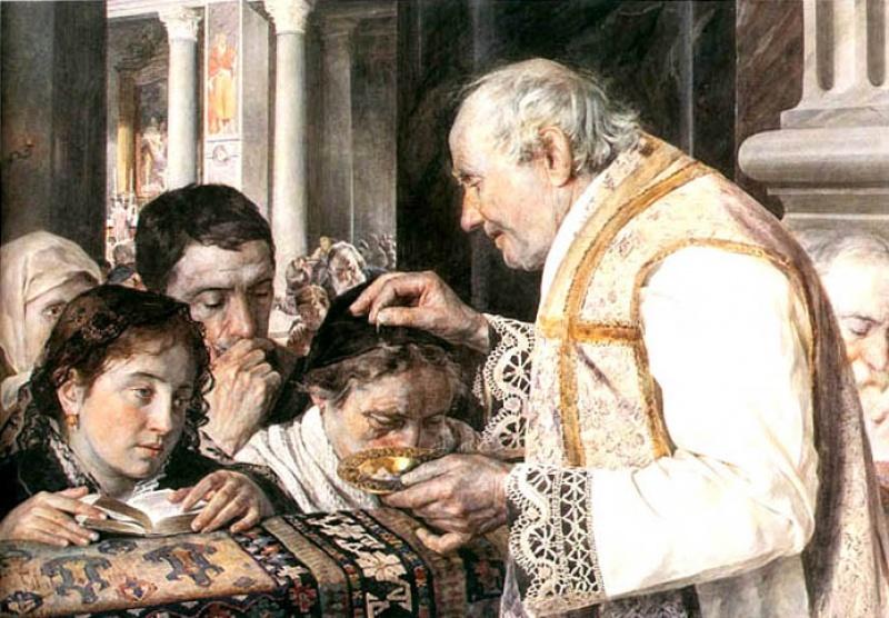 Posypanie popiołem w XIX-wiecznych Włoszech.  Julian Fałat, Popielec, 1881 (źródło: wikimedia.org)