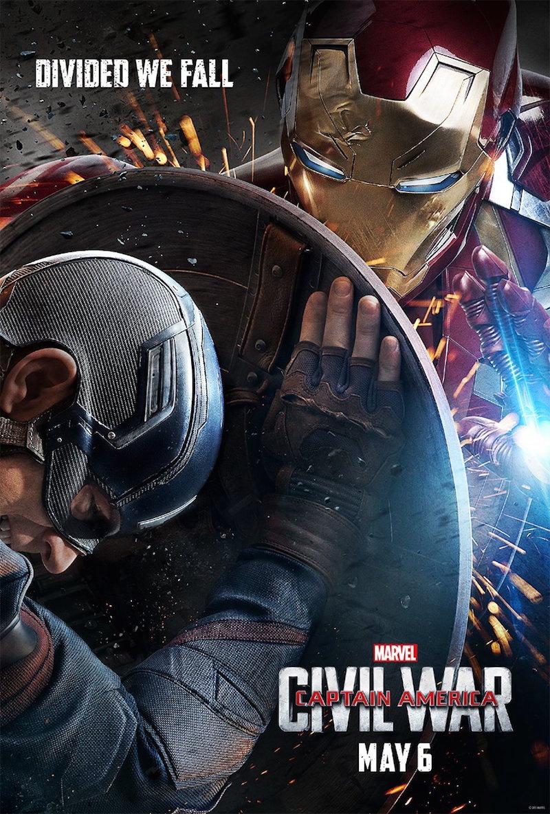 "Plakat z filmu ""Kapitan Ameryka: Wojna bohaterów"" http://cdn.collider.com/wp-content/uploads/2015/11/captain-america-civil-war-poster-iron-man.jpg MARVEL"