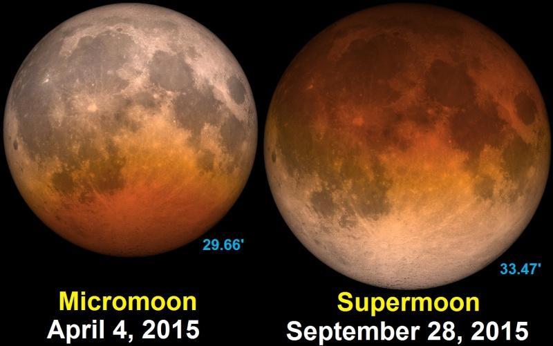 Porównanie Księżyca z Superksiężycem (źródło: wikimedia.org)