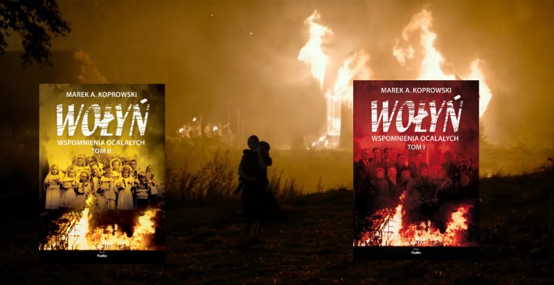 """Tło (kadr z filmu """"Wołyń""""; źródło: youtube.com); Okładki (źródło: www.replika.eu)"""
