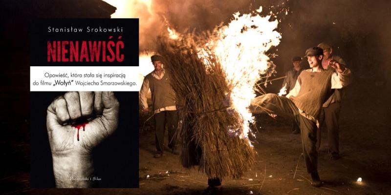 """Tło (kadr z filmu """"Wołyń""""; materiały prasowe); Okładka (źródło: www.proszynski.pl)"""