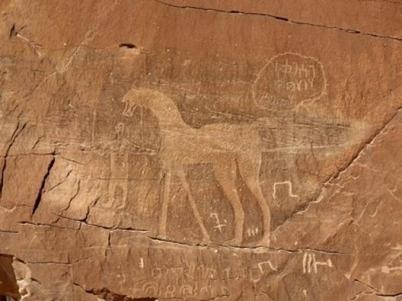 Na megalicie uwieczniono podobiznę człowieka i zwierzęcia przypominającego żyrafę. Jeżeli moja interpretacja sztuki naskalnej jest prawidłowa, to znaczy, że malowidło wykonano w czasach prehistorycznych ponad 5 000 lat p.n.e., gdy na pustyni panowały warunki sprzyjające rozwojowi takim organizmom.